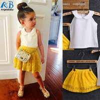 Wholesale Green Skirt Girl Winter - Wholesale- 2016 Girls Sets Kid Baby Sleeveless Round Collar Top+Yellow Lace Skirts 2Pcs Suit Girls Outfits Princess girls clothing sets