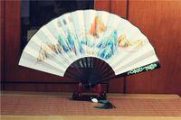 eski çince boyama toptan satış-Çin popüler TV sahne fan Gökyüzüne Krallık / Ebedi Aşk) pirinç Kağıt Ahşap Katlanır Kunlun Fan El Boyalı Antik Sahne Katlama Fan