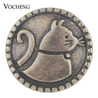 Wholesale Jewelry Clasps Bronze - VOCHENG NOOSA Ginger Snap Charms Antique Bronze House Cat Snap Button Jewelry 18mm Vn-1747