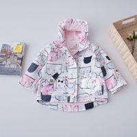 Wholesale Cat Cardigans - 2017 New Spring Girls Wind Coats Cardigan Children Clothing Outwear Cartoon Cat Windcoat Cute Princess Fashion Zipper Girl Tops Pink A6980