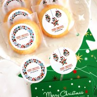 Wholesale Merry Christmas Boxes - 120 pcs White Merry Christmas Cookie Bag Candy Bag Gift Box Sealing Stickers
