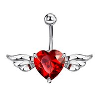 Wholesale Wings Belly Button Rings - Red Cubic Zirconia Piercing Belly Button Angle Wing Rings Navel for Women Body Beach Neoglory Jewelry 2017 New