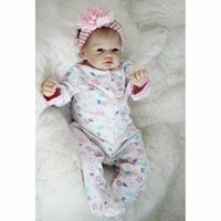 "Wholesale Reborn Doll Hair - Realistic Newborn 22"" 55cm Handmade Lifelike Newborn Baby Doll Reborn Soft Silicone Vinyl Hair Rooted Gift for Girl"