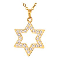 Wholesale Star 18k - David Star Pendants New Fashion 18K Real Gold Plated Top Quality Austrian Rhinestone Necklaces & Pendants For Women P199