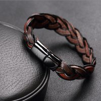Wholesale Stainless Bracelets Men - Wholesale-Trendy Jewelry 12mm Braided Leather Bracelets Men Stainless Steel Leather Bracelets & Bangles Pulseiras masculinas Free Shipping