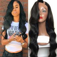 pelucas parte derecha al por mayor-Pelucas peruanas del pelo humano de la parte U de la onda U del cuerpo Pelucas de pelo vírgenes medias izquierdas de la parte U derecha para las mujeres negras Color natural 8-26 pulgadas