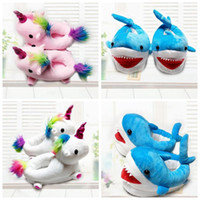 3 cores 19cm Unicorn Plush Slippers Unicórnio Warm Household Winter Shark Slippers para Unisex Crianças Shoes 2pcs / pair CCA8150 50pair