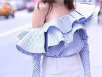 Wholesale Long Sleeve Peplum Tops - 2017 Strapless Boat Neck Falbala Long Sleeves Stripy Shirt Fashion Women's Spring Tops Hot Sale Wholesale women's Tops