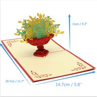 Wholesale Diy Envelope Card - Wholesale- 2Pcs Handmade DIY 3D Pop Up Handcrafted Origami Greeting Card Stereo Colorful Flower Bouquet Congrats Enclosed Envelope