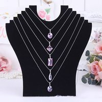Wholesale Wood Necklace Necks - Necklace Bust Jewelry Pendant Chain Display Holder Neck Velvet Stand Easel