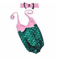 Wholesale Swimsuit Strapless - Mermaid Girls Swimwear Bowknot strapless Siamese swimwear mermaid cosplay Children beach swimsuit Summer Swimming Wear For Children C521