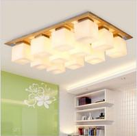 Wholesale Wood Light Fixture Ceiling - Glass shade+wood led Ceiling Lighting square light ceiling 4 6 9 12 heads living room bedroom flush mount ceiling lights fixture