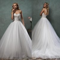 Wholesale Sexy Sweet Heart Line Dress - 2017 Wedding Dresses Bridal Gown With A-Line Sweet-heart Sexy Backless Vintage Beads Lace Crystal Tulle Court Train Cheap