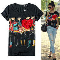Wholesale shirts mujer - Wholesale-women tops Appliques Red Heart t shirt women Female Short Sleeve Print poleras de mujer camisas femininas 2016 Rhinestone Tops