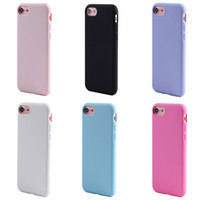 Wholesale Soft Jelly Cases For Iphone - Jelly Color Soft Silicone case for iphone 7 6 6S Plus 5 5S SE Candy Cover with hand Strap rope Hole Black White
