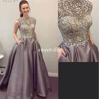 Wholesale Taffeta Puffy Prom Dress - Puffy Elastic Satin Evening Dresses With Sparkly Crystals Beading A-Line Prom Dress 2017 Spring Sheer Cap Sleeves Special Occasion Gown 2017