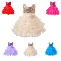 Wholesale Straight Wedding Gowns - Hot Sale Flower Girl's Dresses Weddings Princess Dress Kids Pageant Party Dance Dress Wedding Birthday Gown Sleeveless Bow Dress champagne