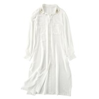 Wholesale Peacock Feather Shirt - Women's peacock feather embroidered long silk blouse Shirt - Lady's summer silk jacket