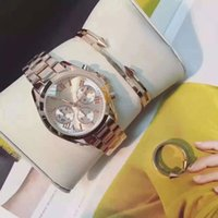 Wholesale Gold Ring Watch For Women - Hot 3 Sets Women Luxury Watch Bracelet Ring With Gift box Rose gold & Black Dresses Wristwatches for lady girls Water Resistant Montre Femme