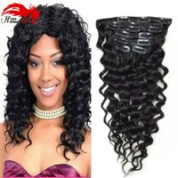 Produit Hannah Clip In Hair Extension Deep Curly Wave Extensions de cheveux humains 7A Clip de cheveux brésilien en extension