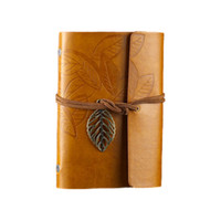 Atacado - Vintage Leaf PU Leather Cover Folha solta Blank Notebook Journal Diary Gift (Amarelo)