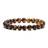 bracelete de olhos naturais de tigre venda por atacado-Pedra Natural minimalista Rodada Bead Buddha Pulseira Olhos de Tigre Pedra Yoga Meditação Braclet Para Homens Mulheres Jóias Bijoux