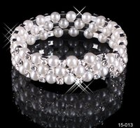 Wholesale Cheap Faux Pearl Jewelry - Modest Cheap In Stock 3 Row White Pearls Bridal Bracelets Wedding Jewelry Vintage Bracelet for Party Prom Evening Women Free Shipping