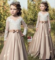 Wholesale Ivory Dresses For Junior Bridesmaid - Lovely Bow Prom Dress Girls Long Sleeves Appliqued Pageant Gown Toddler A Line Junior Bridesmaid Dresses For Weddings Champagne Ivory