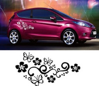 Wholesale flower decals cars - Reflective Car Stickers flower Waterproof Decal Sticker cover anti scratch for car body Light brow front back door bumper