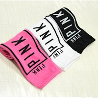 Wholesale Pink Knee High Socks - Fashion Girls PINK Print Socks Stockings Letter Printing High Knee Sport Children Girls Stockings Cotton Leg Warmers 3005004