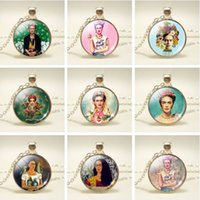 Wholesale imitation coin pendants wholesale - Wholesale Mexico Artist Frida Kahlo Pendant Necklace For Women 11 Styles Necklace For Gift Fashion Jewelry Free Shipping