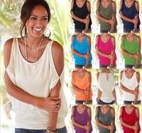 ingrosso blusa dolman-10 pezzi 11 colori donna spalla nuda t-shirt top blusa sciolto pipistrello tee aperto freddo spalla top m073