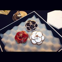 Wholesale AGOOD Brand New High Quality Rose Camellia Brooches Gold Plated Flowers Enamel Brooch Pins Woman Scarf Cloth Accessories