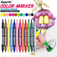 Wholesale Sta Markers - STA 12 Colors Set Artist Brush Sketch Marker Pens Water Based Ink Twin Tip Marker Pen for Art and Graphic Drawing Manga