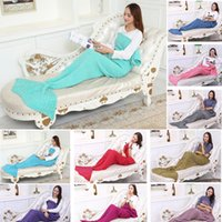 Wholesale Twin Tail - Adult Handmade Mermaid Tail Blanket Crochet Mermaid Blankets Mermaid Tail Sleeping Bags Cocoon Mattress Knit Sofa Blankets 195*95 A1234 50