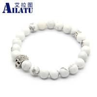 Wholesale Wholesale Howlite Skull Bead - bracelet wholesale Ailatu New Design High Grade Men Jewelry Wholesale 8mm Natural White Howlite Stone Beads Crystal Skull Bracelet