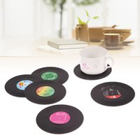 PE black coffee table set - 6Pcs set Retro Vinyl Drinks Coasters Table Cup Mat Home Creative Decor CD Record Coffee Drink Placemat Tableware Spinning