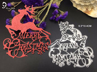 Wholesale Craft Cards Envelopes - new Merry christmas letters reindeer cutting dies stencil for Scrapbook card frame envelope decorative metal craft dies
