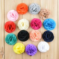 Wholesale Girl Rosette Shoes - Kids 20pcs lot 2015 NEW Chiffon Fabric Flower 2.2in Rosettes for Girls Headband Shoes Clothes DIY Hair Accessories FH30
