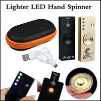 mini isqueiro usb venda por atacado-LED Fidget Spinner Isqueiro Liga de Alumínio USB Carregador 3 em 1 Funções Giroscópio Dedo Dica EDC Brinquedo Ansiedade Brinquedos de Descompressão