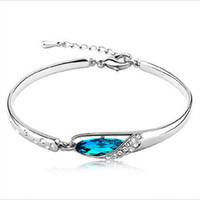 Wholesale Luxurious Diamond Bracelet - New Style Luxurious Blue Austria Diamond Bangle Bracelet Silver Glass shoes Bracelet High Quality 160181