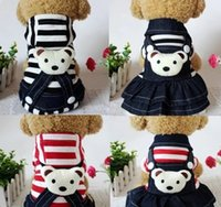 Wholesale Dresses Vip - Stripe denim sweethearts outfit Dog clothes teddy clothes during the spring and autumn outfit dog pet VIP is four feet clothes skirt bears