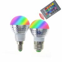 Wholesale Led Controller Living Room - 3W E27 E14 GU10 MR16 RGB Led Bulb Lamp AC85-265V Spotlight + 24Key IR Remote Controller Indoor Led Lighting