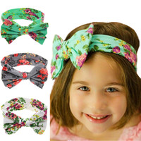 Wholesale Headbands Big Flowers - New Baby Kids Bohemia Bow Headbands Girls Children Flower Imprint Big Bowknot Hairbands Headwear for Kids Hair Accessories KHA250