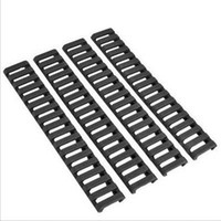 "Wholesale Quad Rail Ladder Covers - Hunting 4 Piece Set Of 18 Slot Snap-on Ladder Rail Cover Quad Handguard W  Picatinny Black Tan Color 7"" Fit for 21 mm mount"