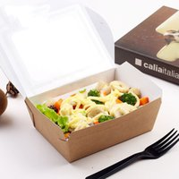 Wholesale Cardboard Package Cake - Salad Dessert Cake Packaging Boxes with Transparent Lids Kraft Cardboard Paper Gift Box Disposable Water Proof Takeaway Lunch Fruit Boxes