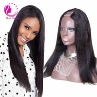 Wholesale Long Human Hair Part Wig - 130density u part wigs virgin hair unprocessed brazilian silk straight u part human hair wig with strap for black women