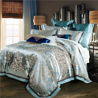 Wholesale Embroidered Satin Bedding Sets - Wholesale- Luxury jacquard satin cotton silk BEDDING bedding set  duvet cover SET  bed sheet  comforter set