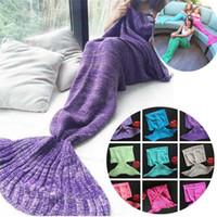 Wholesale wholesale women bag europe - New - Fashion Adult Blankets Mermaid Blankets Tail Fish Blankets Women Sleeping Bag Bedding Warm Soft Handmade Knitted Sofa Blanket 4624