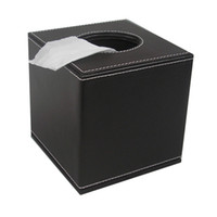 Wholesale Roll Tissue Dispenser - Wholesale- Ever Perfect Square PU Leather Roll Tissue Napkin Toilet Paper Box Case Canister Dispenser Home Decoration Brown Color A037